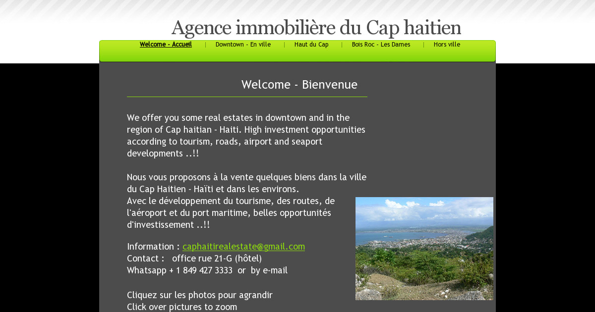 agence immobili re du cap haitien welcome accueil. Black Bedroom Furniture Sets. Home Design Ideas